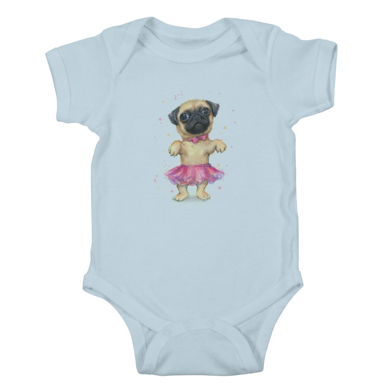 Pug in a Tutu Kids Baby Bodysuit by Art by Olga Shvartsur