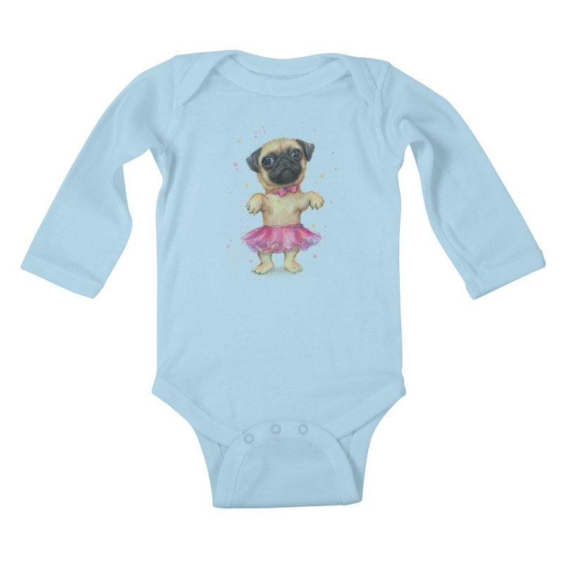 Pug in a Tutu Kids Baby Longsleeve Bodysuit by Art by Olga Shvartsur