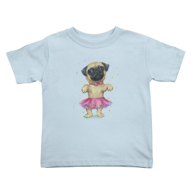 Pug in a Tutu Kids Toddler T-Shirt by Art by Olga Shvartsur