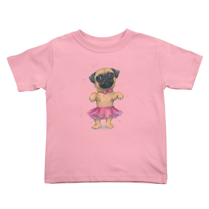 Pug in a Tutu Kids Toddler T-Shirt by Art by Olga Shvartsur