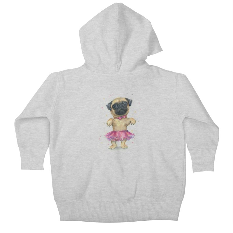 Pug in a Tutu Kids Baby Zip-Up Hoody by Art by Olga Shvartsur