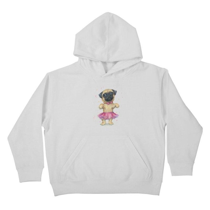 Pug in a Tutu Kids Pullover Hoody by Art by Olga Shvartsur