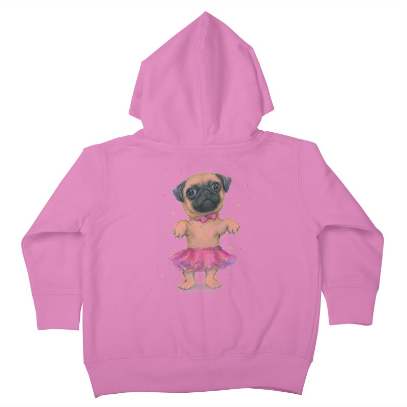 Pug in a Tutu Kids Toddler Zip-Up Hoody by Art by Olga Shvartsur