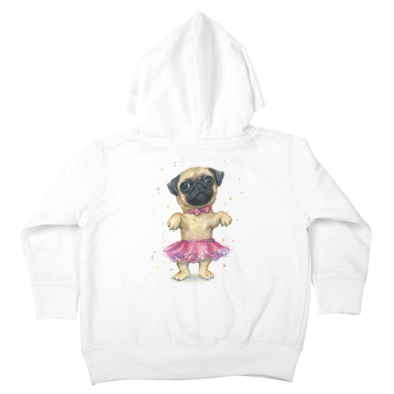 Pug in a Tutu Kids Toddler Zip-Up Hoody by Art by Olga Shvartsur