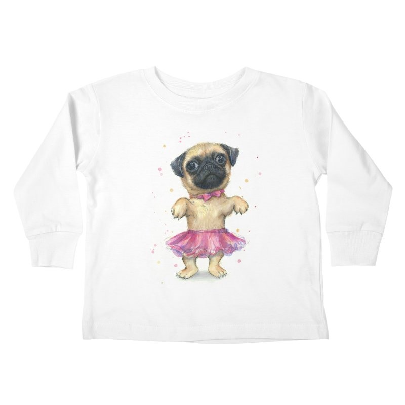 Pug in a Tutu Kids Toddler Longsleeve T-Shirt by Art by Olga Shvartsur