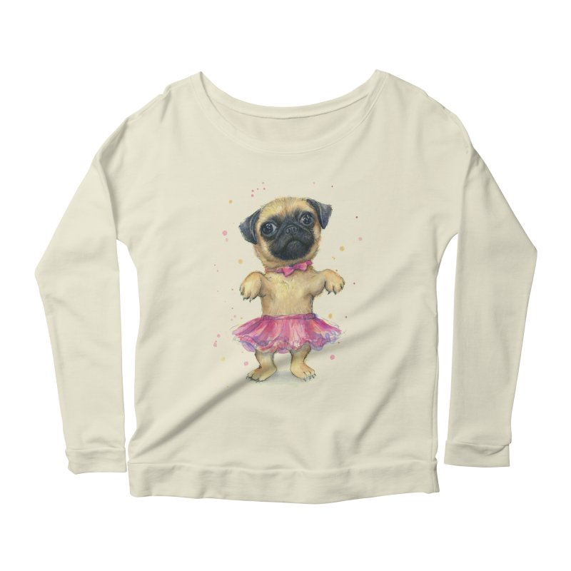 Pug in a Tutu Women's Scoop Neck Longsleeve T-Shirt by Art by Olga Shvartsur
