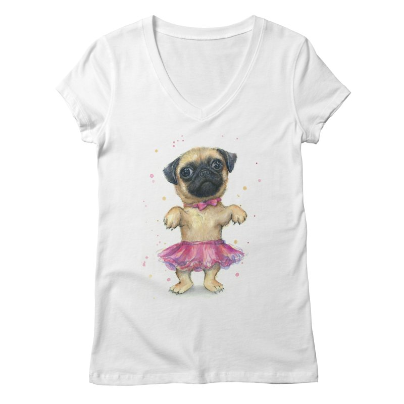 Pug in a Tutu Women's Regular V-Neck by Art by Olga Shvartsur