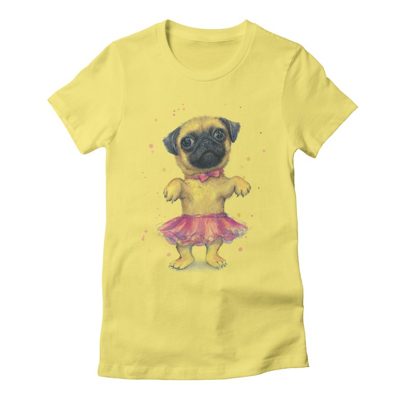 Pug in a Tutu Women's Fitted T-Shirt by Art by Olga Shvartsur