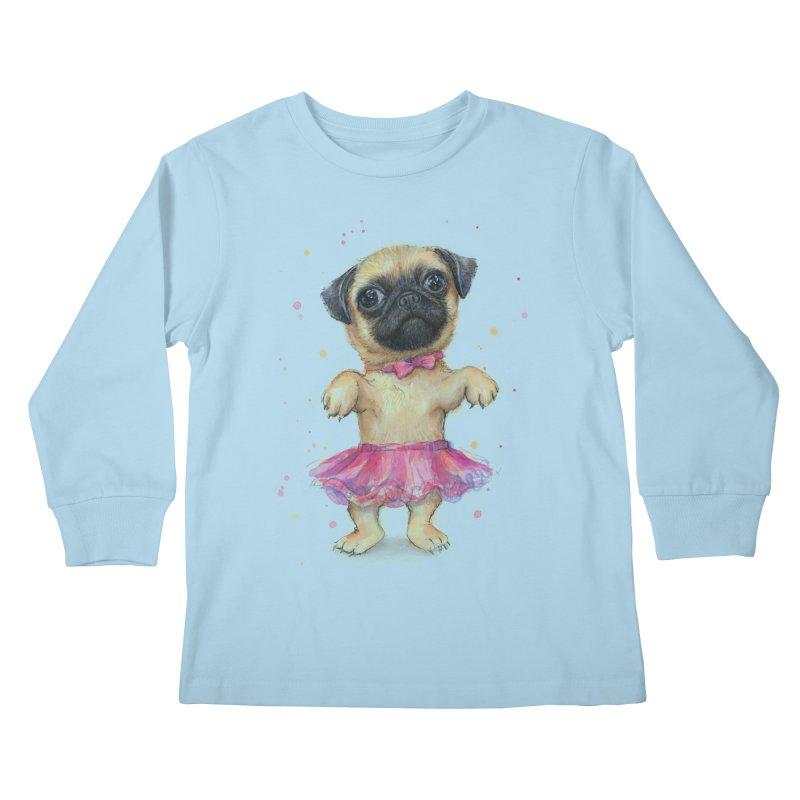 Pug in a Tutu Kids Longsleeve T-Shirt by Art by Olga Shvartsur