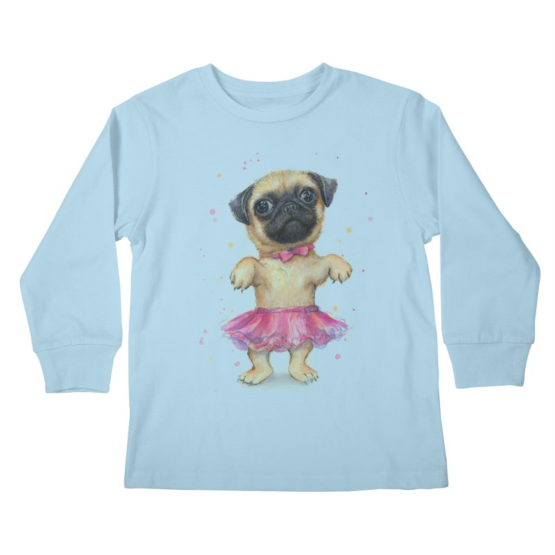 Pug in a Tutu Kids Longsleeve T-Shirt by Art by Olga Shvartsur