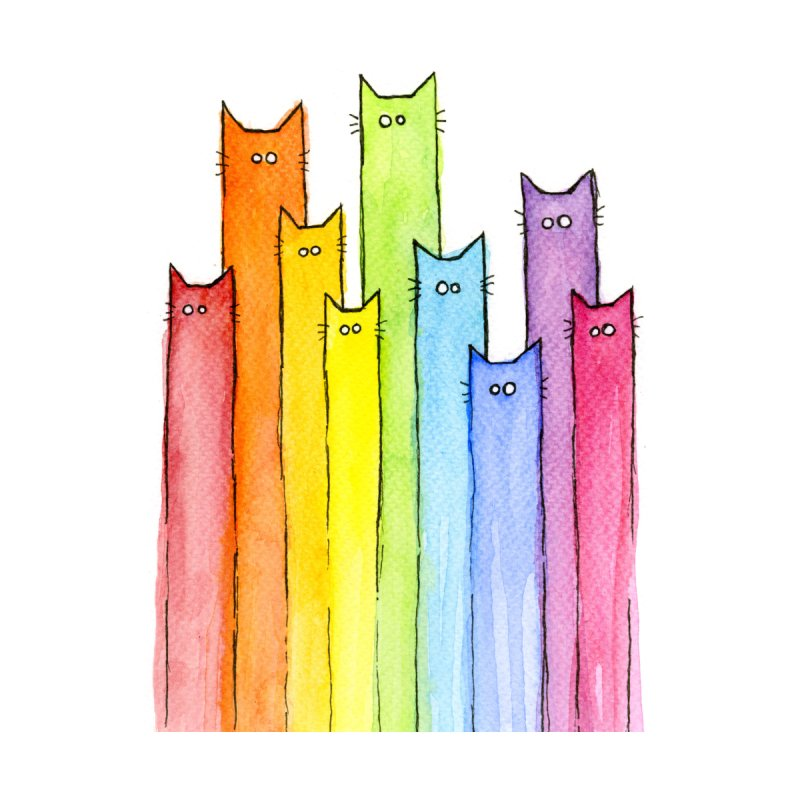 Rainbow of Cats Kids Pullover Hoody by Art by Olga Shvartsur