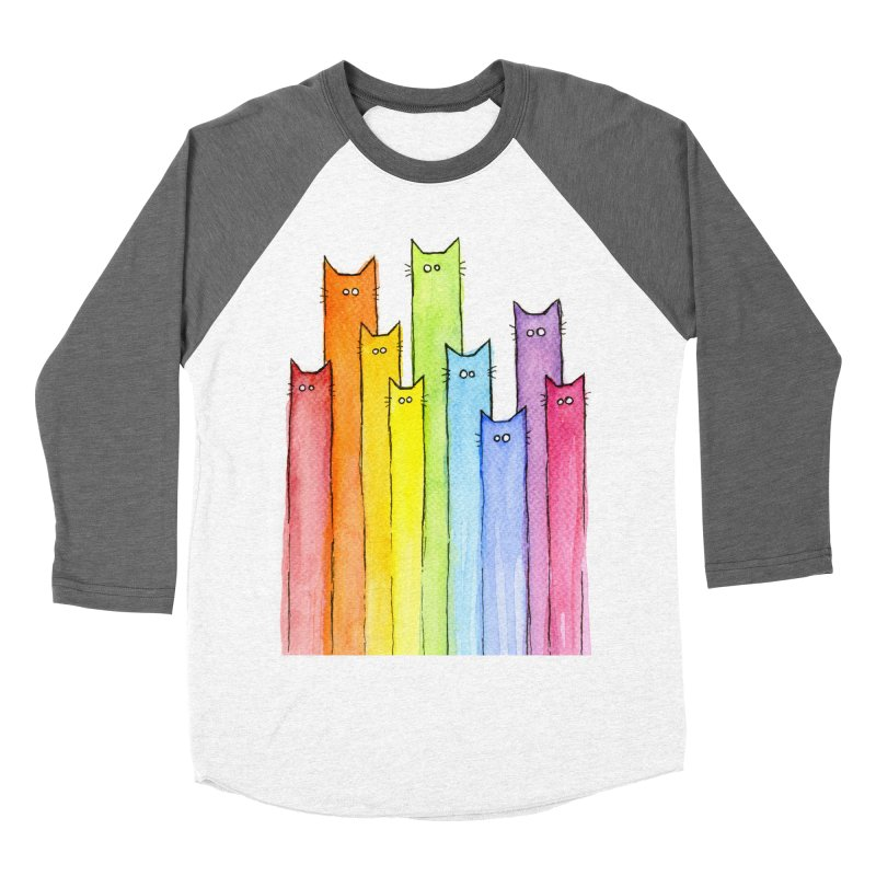 Rainbow of Cats Men's Baseball Triblend T-Shirt by Art by Olga Shvartsur