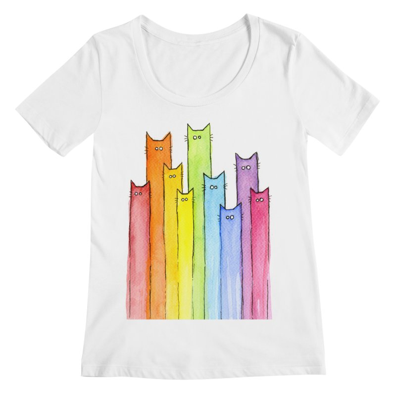 Rainbow of Cats Women's Regular Scoop Neck by Art by Olga Shvartsur
