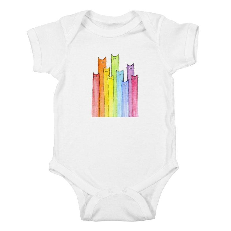 Rainbow of Cats Kids Baby Bodysuit by Art by Olga Shvartsur