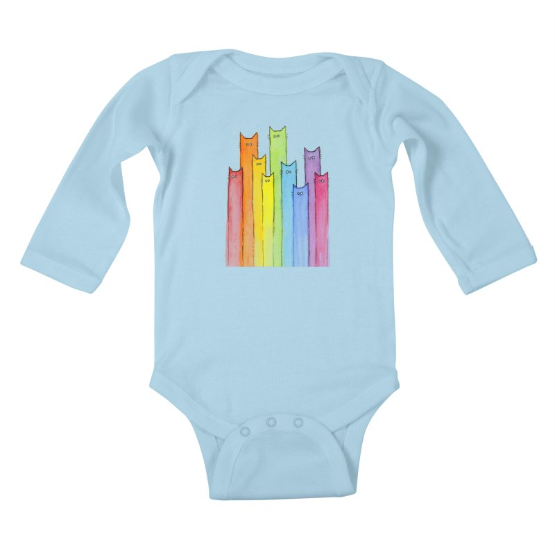 Rainbow of Cats Kids Baby Longsleeve Bodysuit by Art by Olga Shvartsur