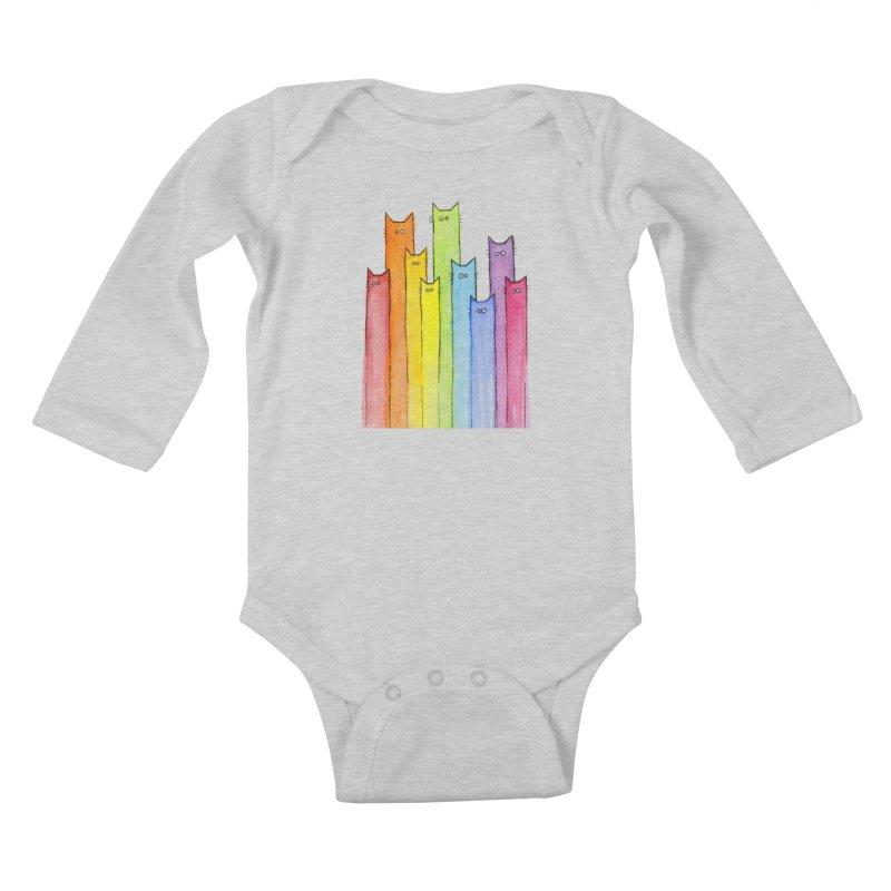 Rainbow of Cats Kids Baby Longsleeve Bodysuit by Art by Olga Shvartsur