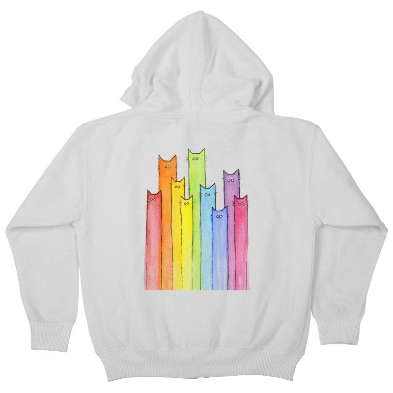 Rainbow of Cats Kids Zip-Up Hoody by Art by Olga Shvartsur