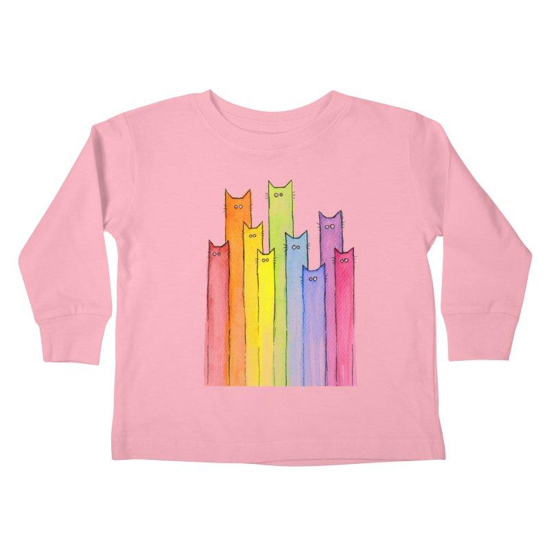 Rainbow of Cats Kids Toddler Longsleeve T-Shirt by Art by Olga Shvartsur