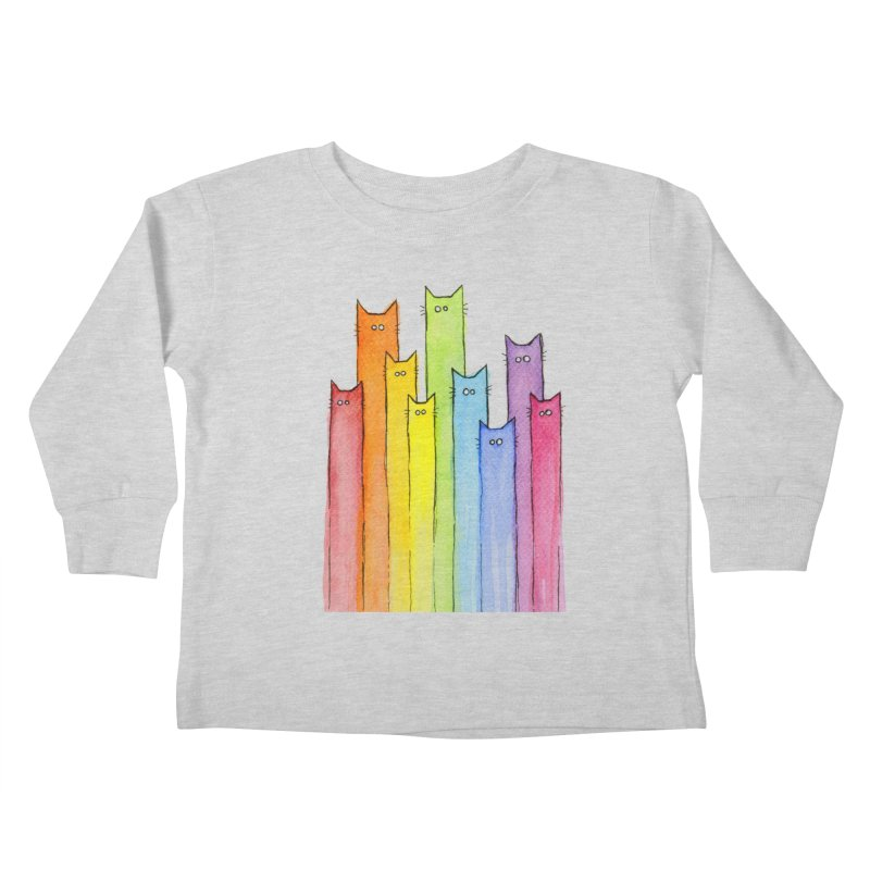 Rainbow of Cats Kids Toddler Longsleeve T-Shirt by Art by Olga Shvartsur