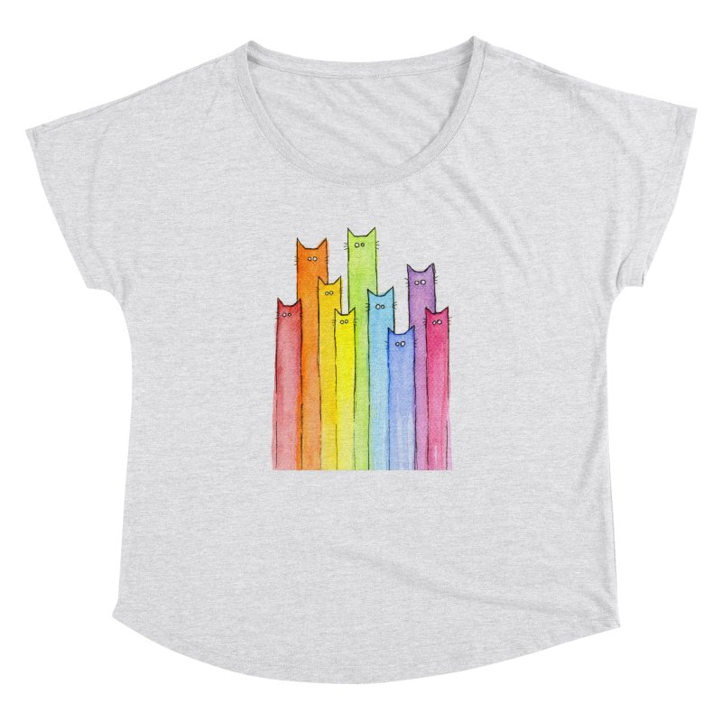Rainbow of Cats Women's Dolman Scoop Neck by Art by Olga Shvartsur