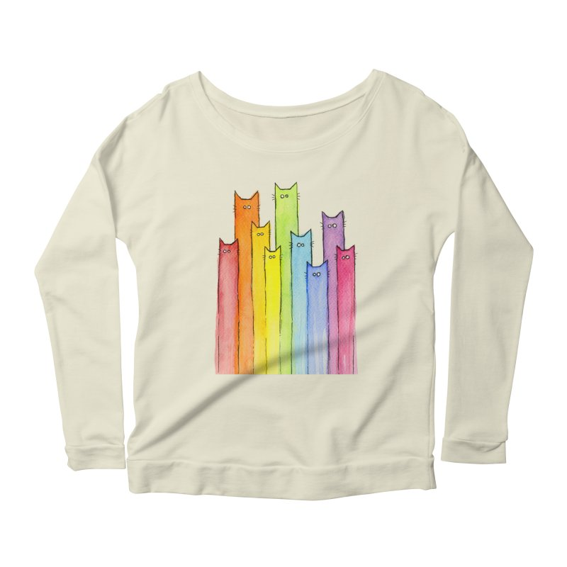 Rainbow of Cats Women's Scoop Neck Longsleeve T-Shirt by Art by Olga Shvartsur