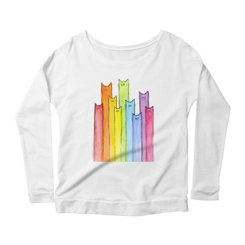 Rainbow of Cats Women's Longsleeve Scoopneck  by Art by Olga Shvartsur