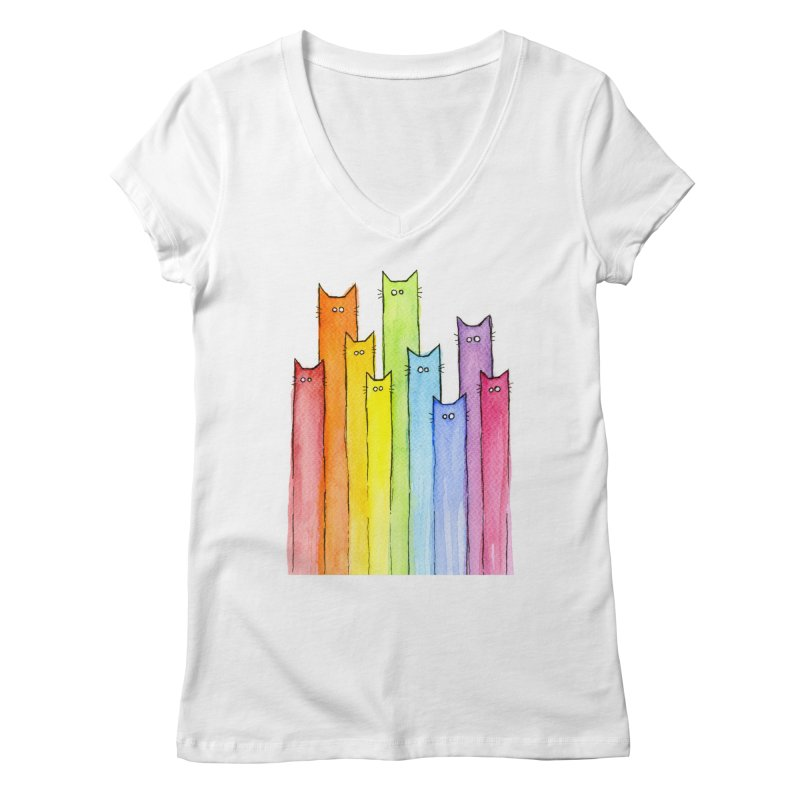 Rainbow of Cats Women's Regular V-Neck by Art by Olga Shvartsur