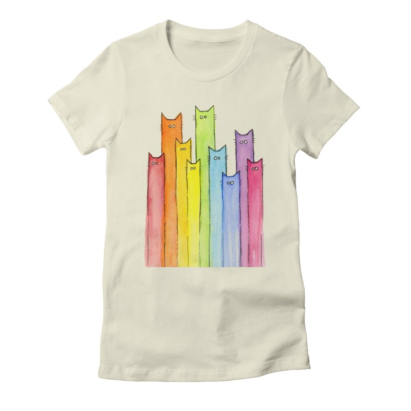 Rainbow of Cats Women's Fitted T-Shirt by Art by Olga Shvartsur