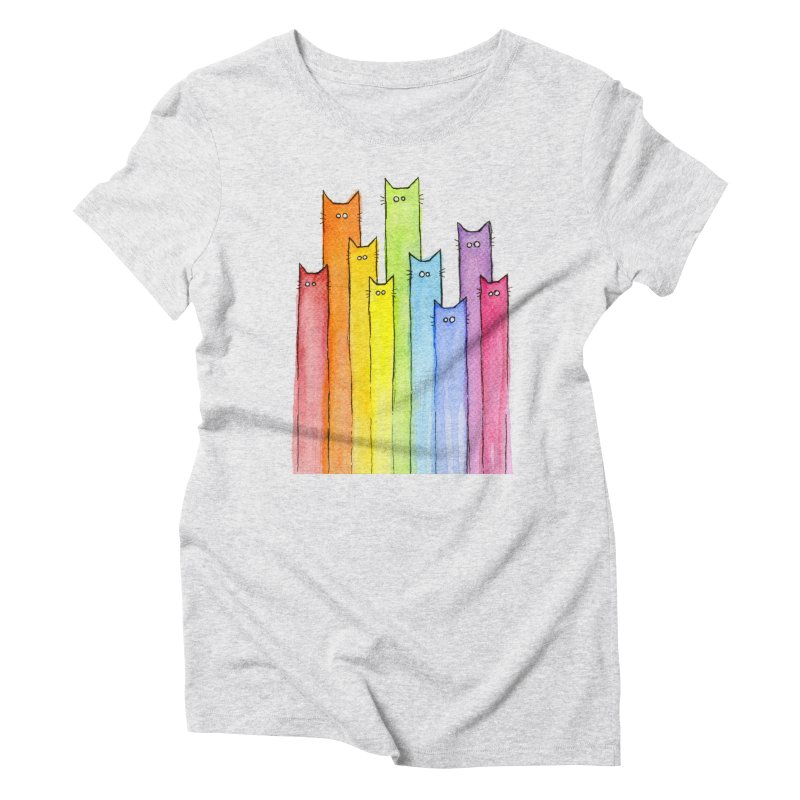 Rainbow of Cats Women's Triblend T-Shirt by Art by Olga Shvartsur