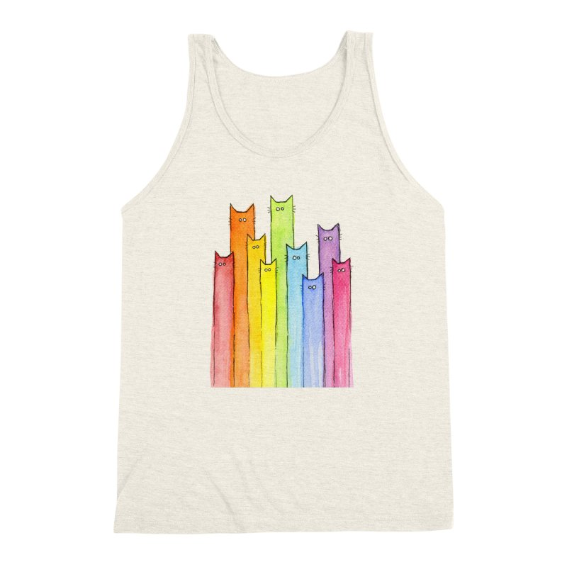 Rainbow of Cats Men's Triblend Tank by Art by Olga Shvartsur