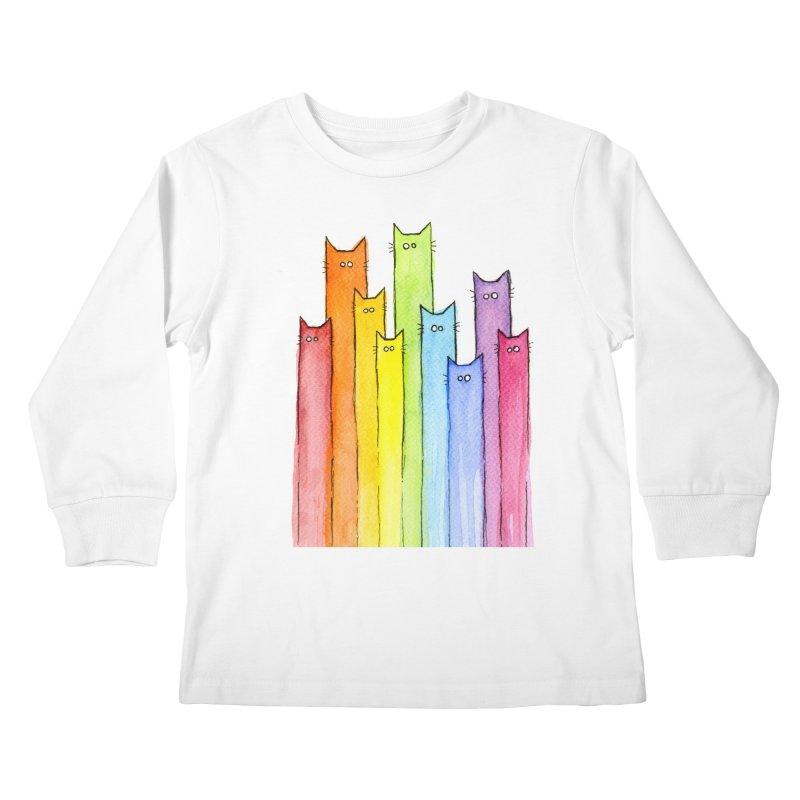 Rainbow of Cats Kids Longsleeve T-Shirt by Art by Olga Shvartsur