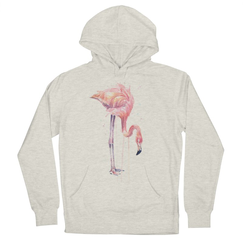Flamingo Watercolor Men's French Terry Pullover Hoody by Art by Olga Shvartsur