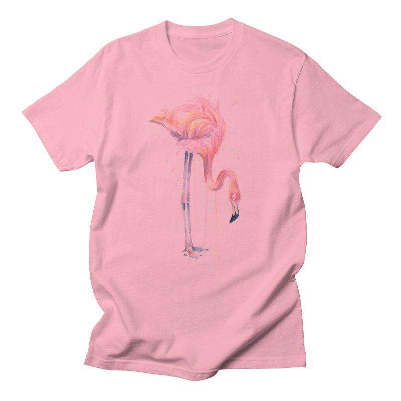 Flamingo Watercolor Men's T-shirt by Art by Olga Shvartsur
