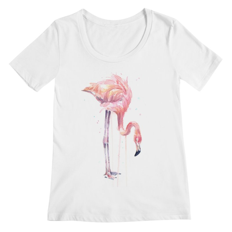 Flamingo Watercolor Women's Regular Scoop Neck by Art by Olga Shvartsur