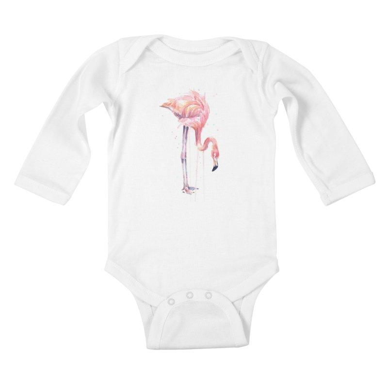Flamingo Watercolor Kids Baby Longsleeve Bodysuit by Art by Olga Shvartsur