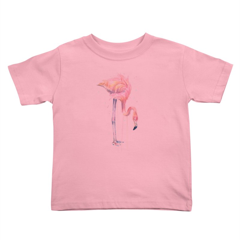 Flamingo Watercolor Kids Toddler T-Shirt by Art by Olga Shvartsur