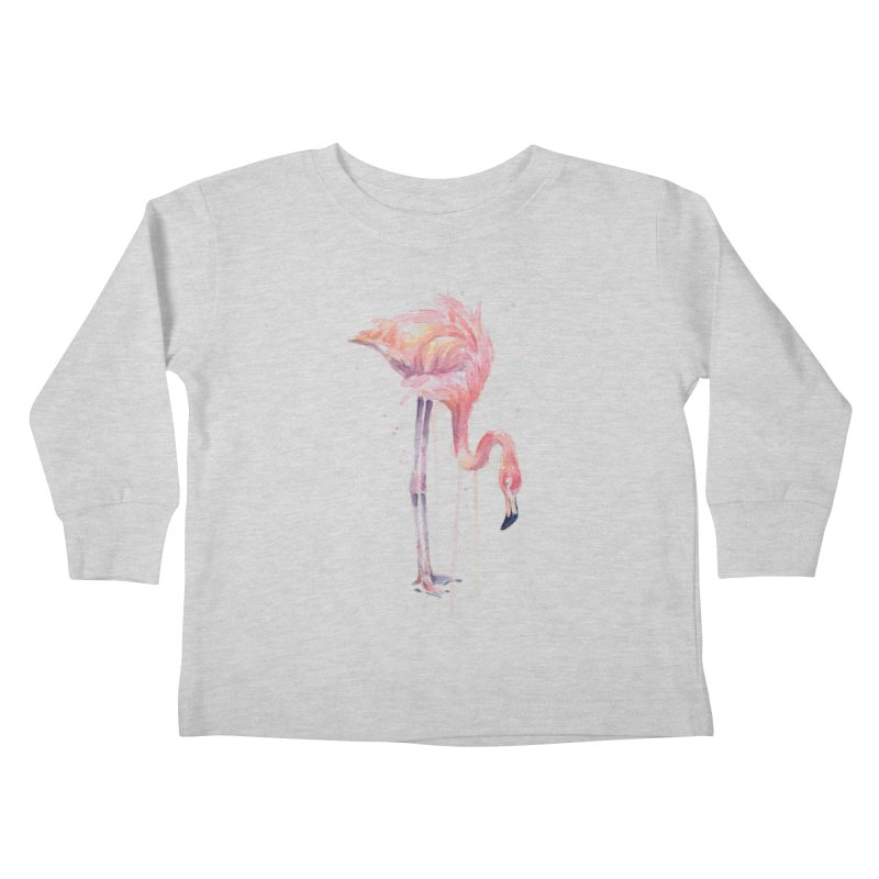 Flamingo Watercolor Kids Toddler Longsleeve T-Shirt by Art by Olga Shvartsur