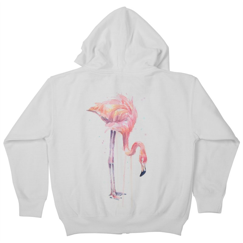 Flamingo Watercolor Kids Zip-Up Hoody by Art by Olga Shvartsur