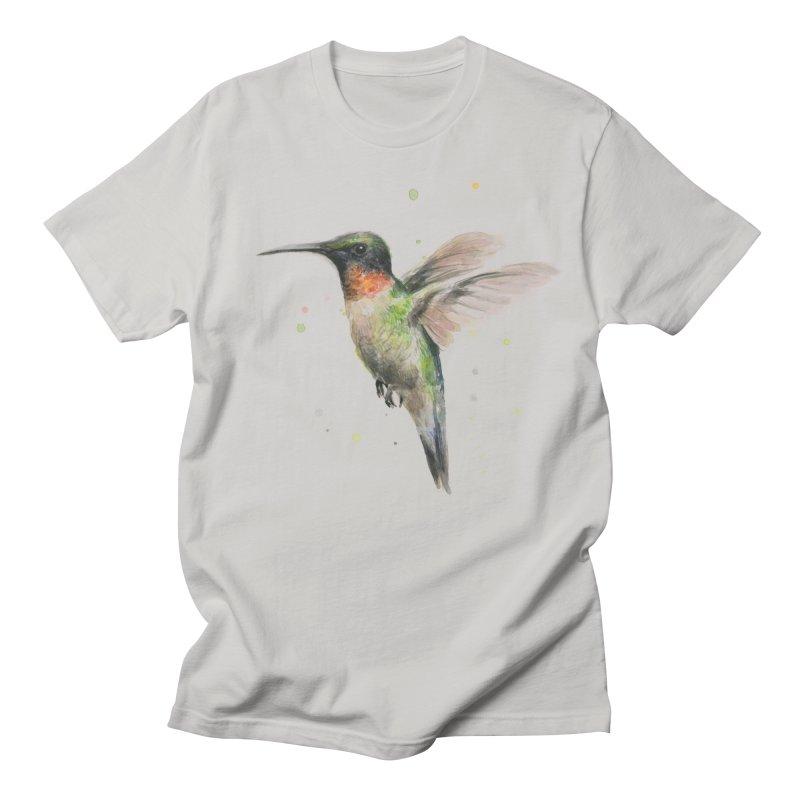 Hummingbird Watercolor Men's T-Shirt by Art by Olga Shvartsur