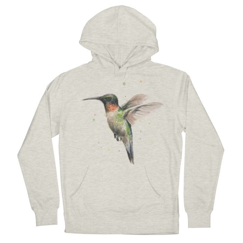 Hummingbird Watercolor Men's French Terry Pullover Hoody by Art by Olga Shvartsur