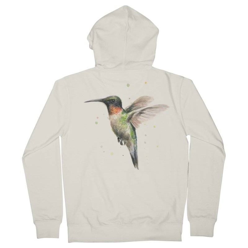 Hummingbird Watercolor Men's French Terry Zip-Up Hoody by Art by Olga Shvartsur