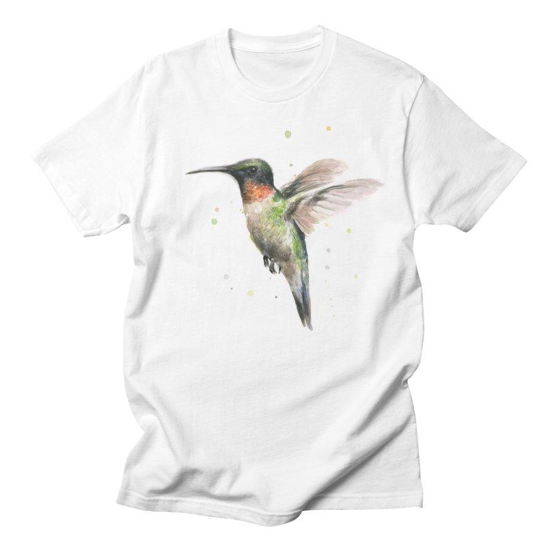 Hummingbird Watercolor Men's Regular T-Shirt by Art by Olga Shvartsur