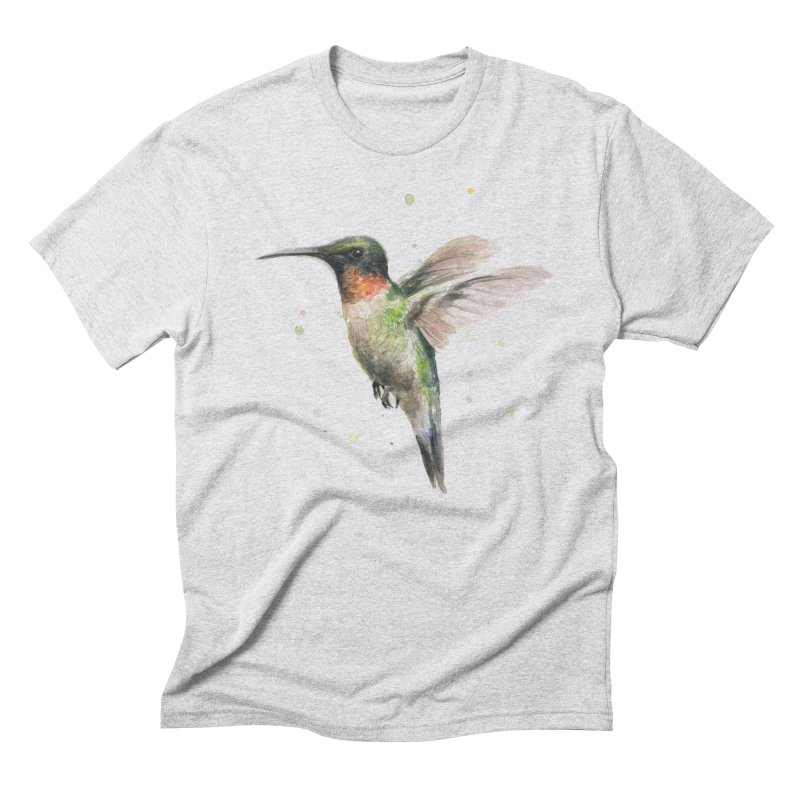 Hummingbird Watercolor Men's Triblend T-Shirt by Art by Olga Shvartsur