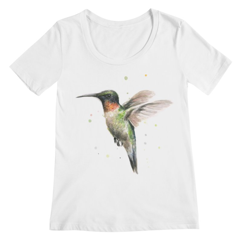 Hummingbird Watercolor Women's Regular Scoop Neck by Art by Olga Shvartsur