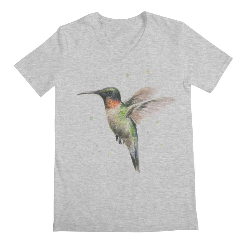 Hummingbird Watercolor Men's V-Neck by Art by Olga Shvartsur