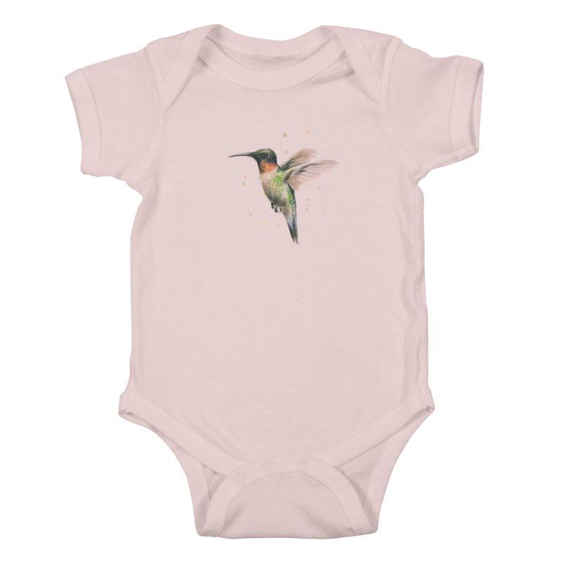 Hummingbird Watercolor Kids Baby Bodysuit by Art by Olga Shvartsur