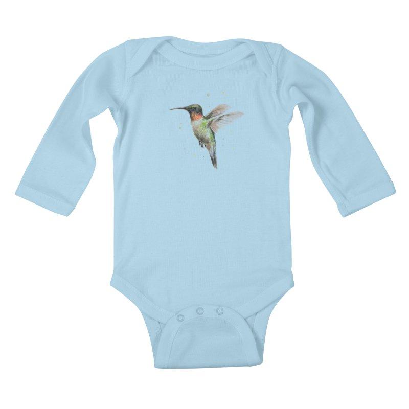 Hummingbird Watercolor Kids Baby Longsleeve Bodysuit by Art by Olga Shvartsur