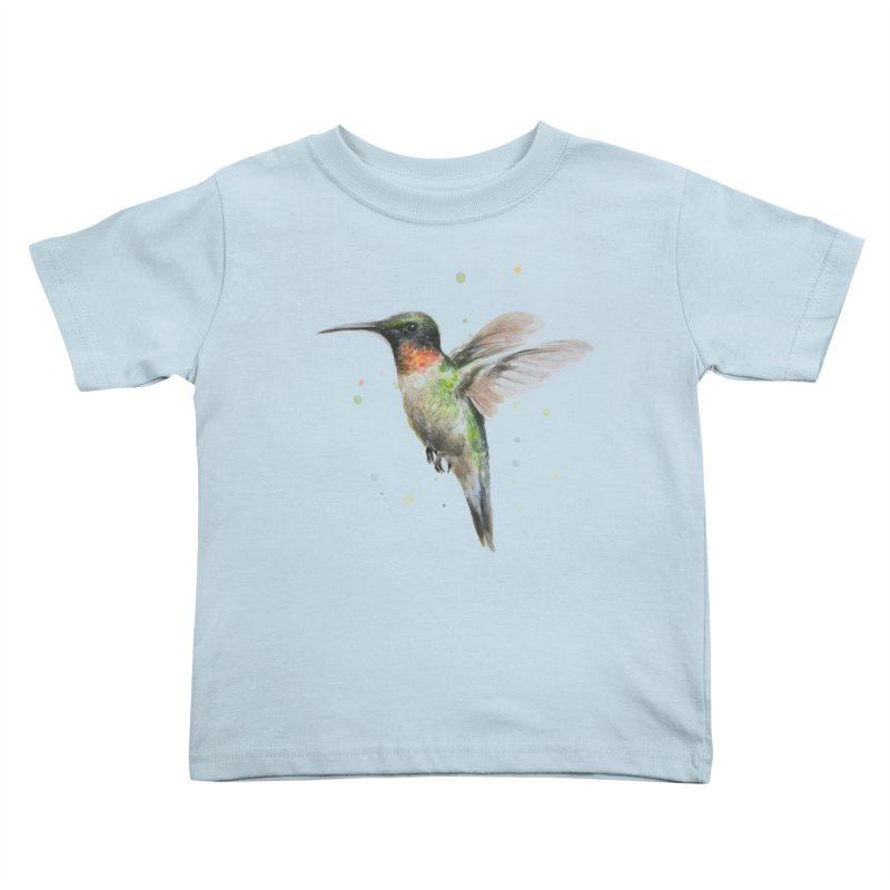 Hummingbird Watercolor Kids Toddler T-Shirt by Art by Olga Shvartsur