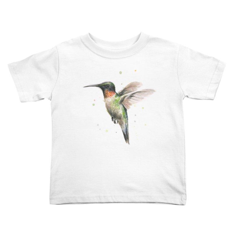 Hummingbird Watercolor Kids Toddler T-Shirt by Art by Olga Shvartsur