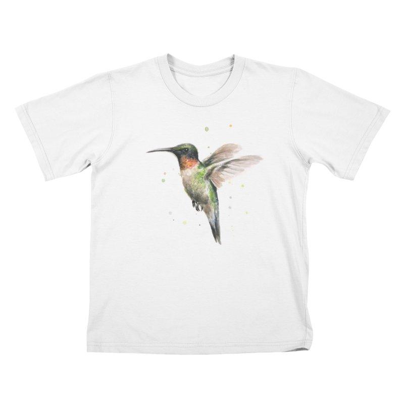 Hummingbird Watercolor Kids T-shirt by Art by Olga Shvartsur